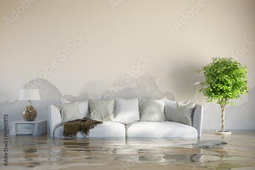 Obraz na płótnie Wasserschaden im Haus nach Überschwemmung
