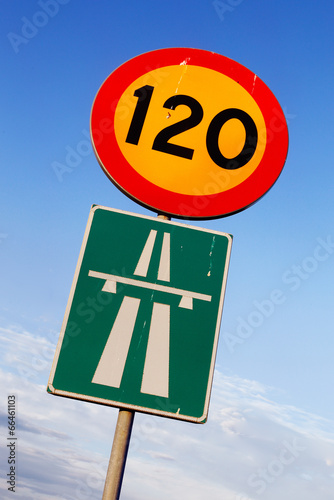 Fotografía  Speed limit 120 and motorway signs