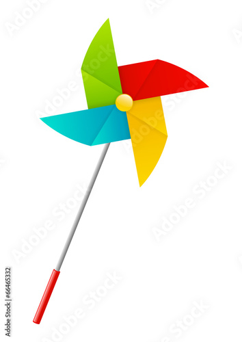 Fotografia, Obraz  Color paper pinwheel isolated on white