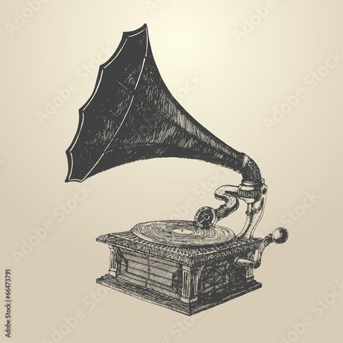 Cuadros en Lienzo Phonograph - vintage engraved illustration, retro style
