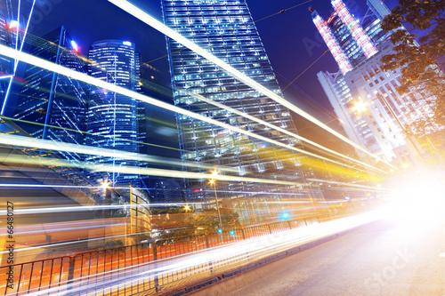Fototapety, obrazy: HongKong traffic light trails