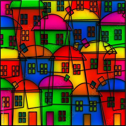 Fotografie, Obraz  Stained Glass Village