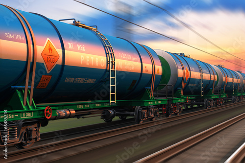 Tablou Canvas Freight train with petroleum tankcars
