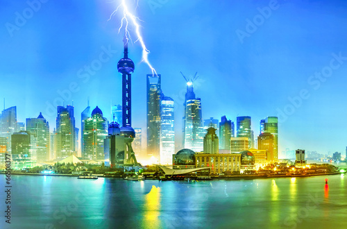 Fototapety, obrazy: Beautiful Shanghai Pudong skyline