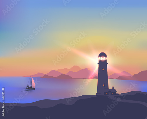 Fototapety, obrazy: Illustration with a sunset, sea, lighthouse, mountains