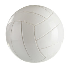 Fototapeta White leather volleyball isolated on a white