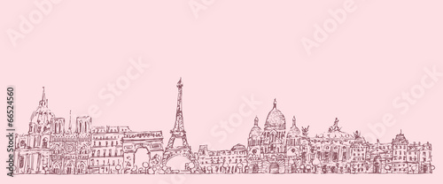 Paris, France, vintage engraved illustration, hand drawn Wallpaper Mural