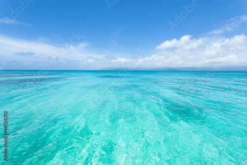 In de dag Groene koraal Crystal clear blue tropical water, Okinawa, Japan