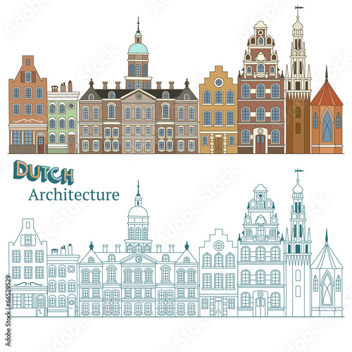 Cityscape in Netherlands and Typical Dutch Architecture Wallpaper Mural
