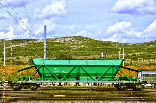 Fotografie, Obraz  Vagón, tren, ferrocarril, mercancías, transporte, Puertollano