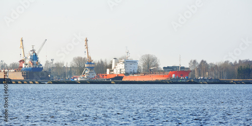 Foto op Plexiglas Arctica Ship in cargo port terminal. Riga terminal, Latvia