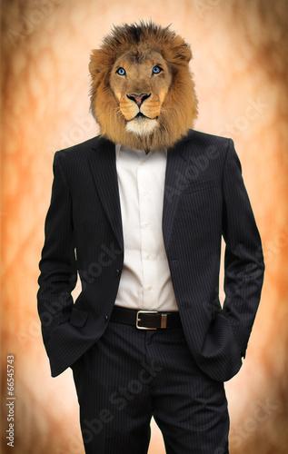 Spoed Fotobehang Hipster Dieren man with lion head