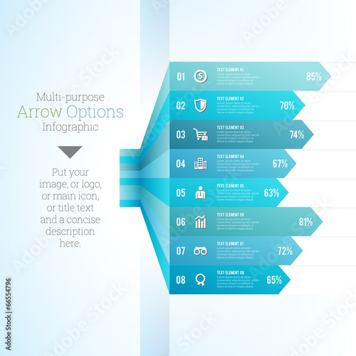 Valokuva  Multipurpose Arrow Option Infographic