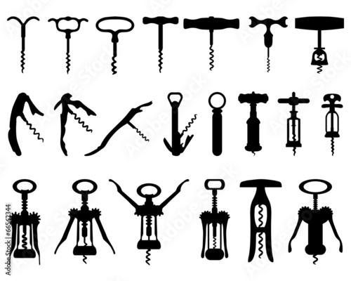Fotografía  Black silhouette of corkscrew, vector illustration