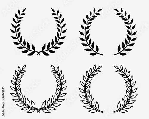 Photo  Black silhouettes of laurel wreaths, vector