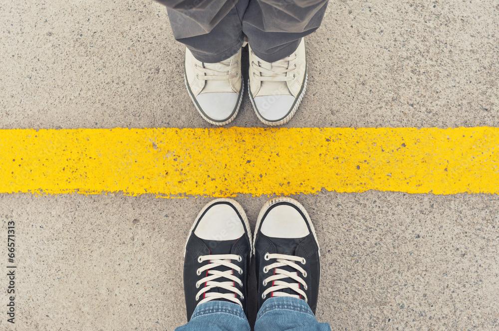 Fototapeta Sneakers from above.