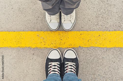 Fototapeta Sneakers from above. obraz