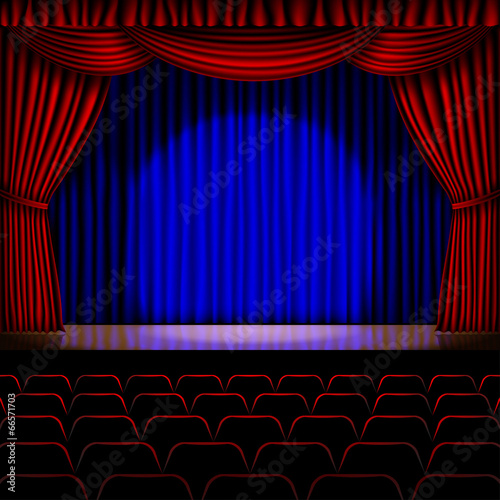 Printed kitchen splashbacks Theater stage with red curtain