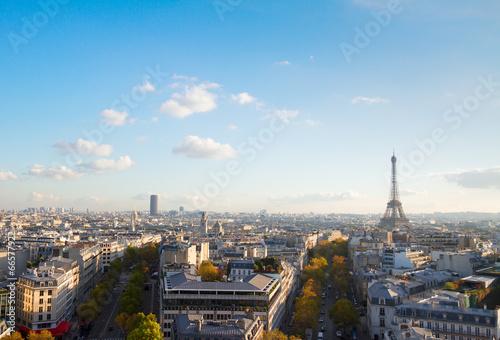 Poster de jardin Paris eiffel tour and Paris cityscape