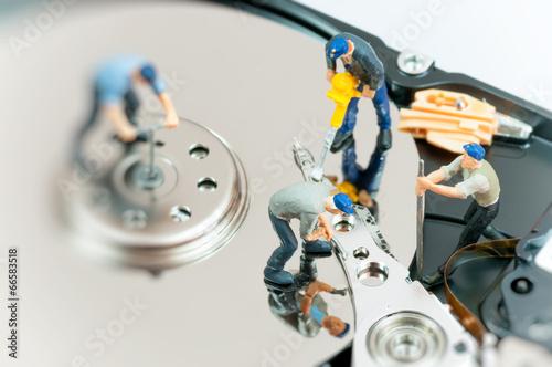 Photo sur Aluminium Vache Workers repairing hard drive.