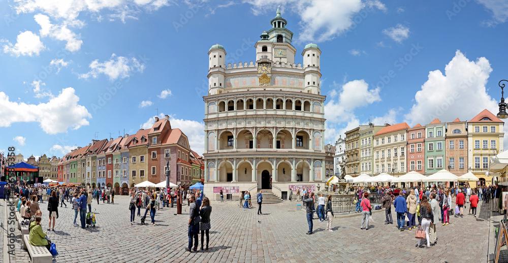 Market square, Poznan, Poland -Stitched Panorama - obrazy, fototapety, plakaty