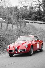 Red Vintage Car On Black And White Background