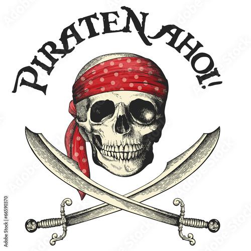 Fotografia, Obraz  Piraten-Symbol mit Totenkopf und Säbeln