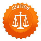 justice sur bouton web denté orange