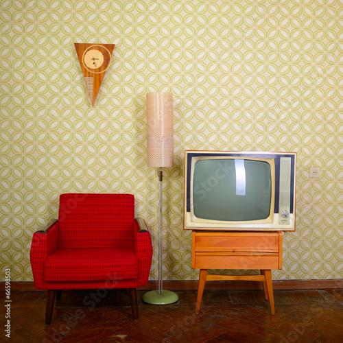 Foto op Plexiglas Retro Vintage room with wallpaper, old fashioned armchair, retro tv, c