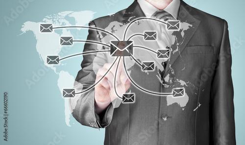 Tuinposter Abstract bloemen business man distribute digital mail