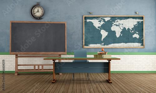 Deurstickers Retro Retro classroom without student
