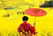 Leinwanddruck Bild - Woman in red kimono walking away, view from back