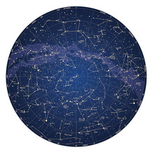 High Detailed Sky Map Of North...