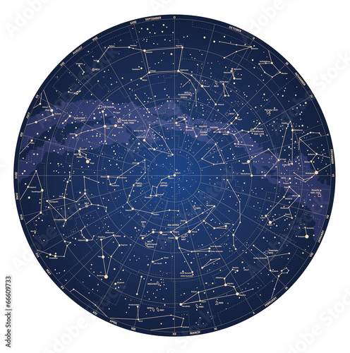 High detailed sky map of Northern hemisphere with names Fototapete