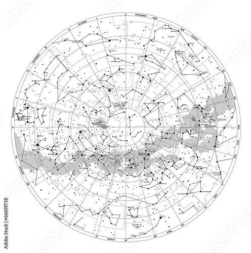 Cuadros en Lienzo High detailed sky map of Southern hemisphere with names