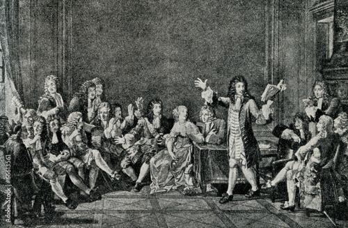 Fotografie, Tablou  Moliere presents his Tartuffe in salon of Ninon de L'Enclos