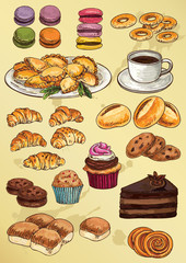 Panel Szklany Do herbaciarni set of hand drawing cakes and cookies