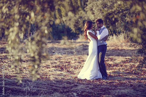 Fotografie, Obraz  Just married couple in nature background