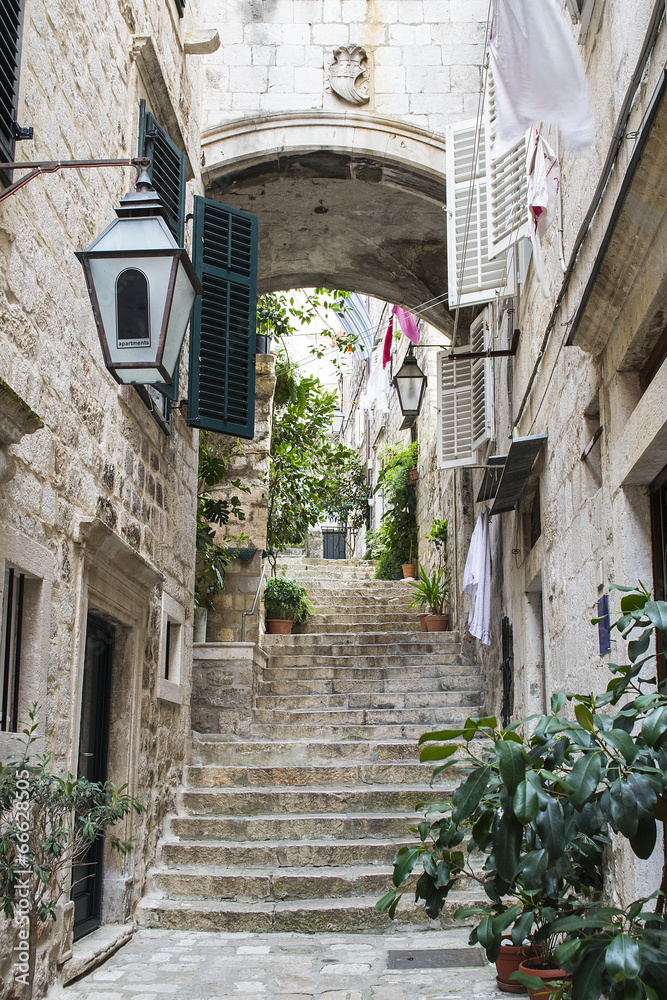 Fototapety, obrazy: Stairs in Old City of Dubrovnik