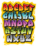 Fototapeta Młodzieżowe - Cartoon comic graffiti doodle font alphabet. Vector