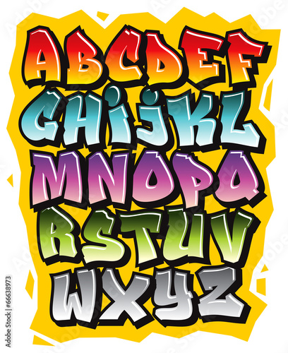 Poster Graffiti Cartoon comic graffiti doodle font alphabet. Vector