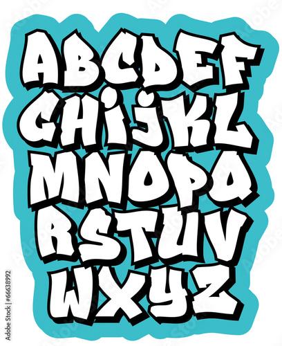 Foto op Aluminium Graffiti Cartoon comic graffiti doodle font alphabet. Vector
