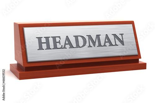 Photo  Headman title on nameplate