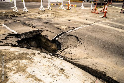 Fotografie, Obraz Road Sinkhole