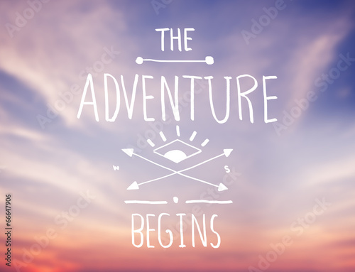 Fotografia  Bright Pink Sky with Adventure Quote
