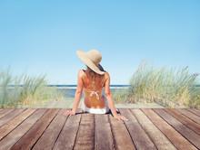 Woman Wearing Bikini In A Summ...