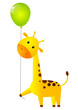 Funny giraffe with green balloon