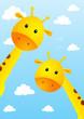 Funny giraffes on sky background