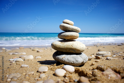 Photo Stands Stones in Sand Beach relax summer beach blue sun spain light rest beaches
