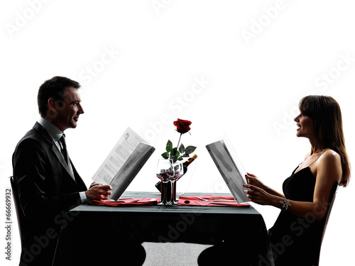 Couples Lovers Dating Dinner Silhouettes Buy This Stock Photo And